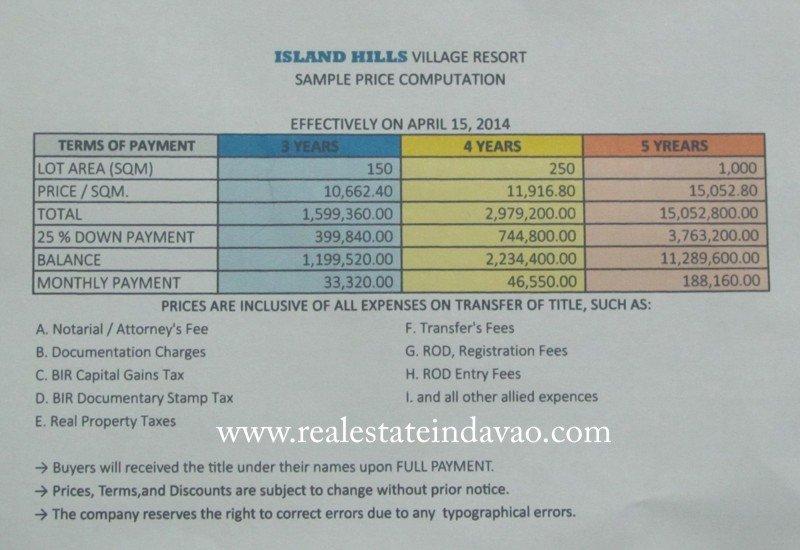 Island Hills Beach Resort Samal Rates
