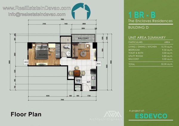 1 Bedroom B at The Enclaves Residences Condominium. Matina Enclaves Davao City