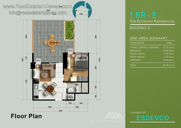 1 Bedroom E at The Enclaves Residences Condominium. Matina Enclaves Davao City