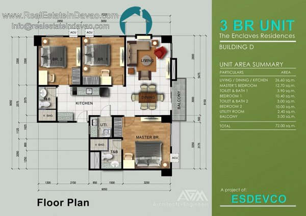 3 Bedroom A unit at The Enclaves Residences Condominium Davao City, Matina Enclaves Condominium