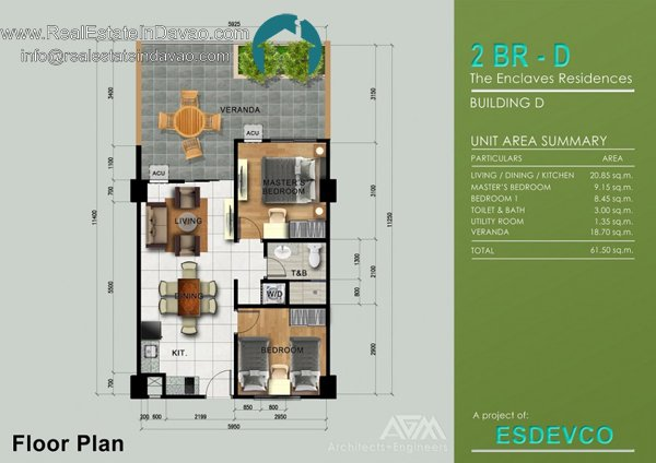 2 Bedroom D unit at The Enclaves Residences Davao City, Matina Enclaves Condominium
