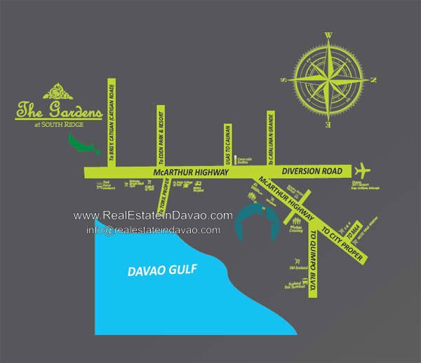 Davao House and Lot, Davao Subdivisions, House and Lot for Sale in Davao City, Mid-cost Housing in Davao City, Real Estate in Davao, Real Estate Property for Sale in Davao, Urban East Development Inc, The Gardens at South Ridge, Catigan Toril, High End Housing in Davao City, Real Estate in Davao, realestateindavao, Vicinity Map
