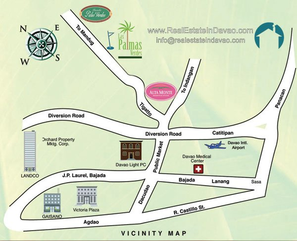 Alta Monte Lots for Sale - Vicinity Map - Real Estate in Davao City