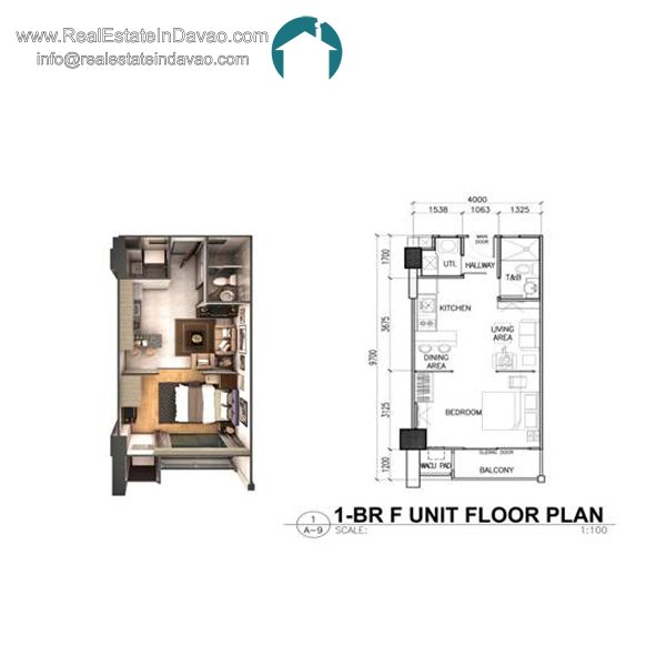 Davao City, Legacy Leisure Residences, Condominium, Maa Road, Mixed-use condominium, RealEstateInDavao, Real Estate In Davao City, 1 Bedroom F Floor Plan