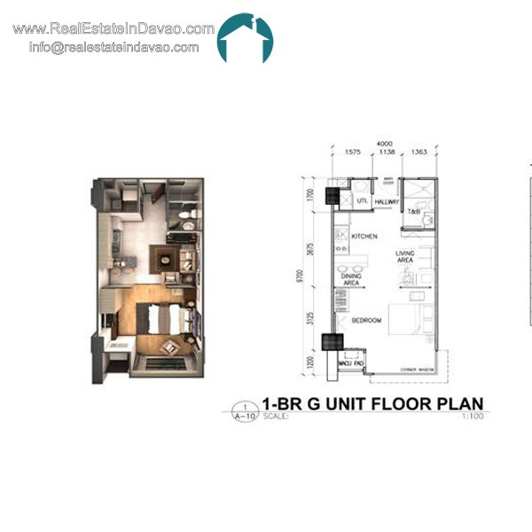 Davao City, Legacy Leisure Residences, Condominium, Maa Road, Mixed-use condominium, RealEstateInDavao, Real Estate In Davao City, 1 Bedroom G Floor Plan