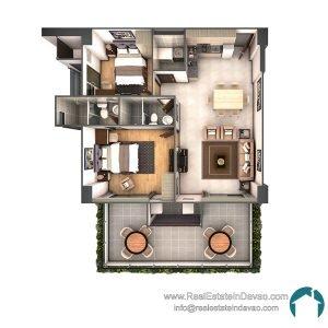 Davao City, Legacy Leisure Residences, Condominium, Maa Road, Mixed-use condominium, RealEstateInDavao, Real Estate In Davao City, 2 Bedroom A