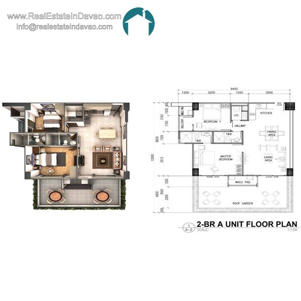 Davao City, Legacy Leisure Residences, Condominium, Maa Road, Mixed-use condominium, RealEstateInDavao, Real Estate In Davao City, 2 Bedroom A Floor Plan