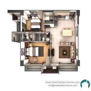 Davao City, Legacy Leisure Residences, Condominium, Maa Road, Mixed-use condominium, RealEstateInDavao, Real Estate In Davao City, 2 Bedroom B