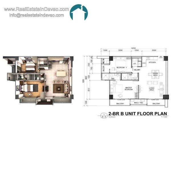 Davao City, Legacy Leisure Residences, Condominium, Maa Road, Mixed-use condominium, RealEstateInDavao, Real Estate In Davao City, 2 Bedroom B Floor Plan