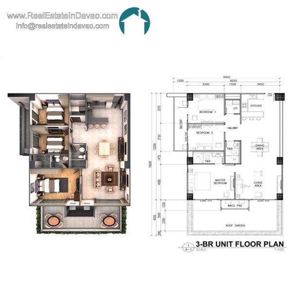 Davao City, Legacy Leisure Residences, Condominium, Maa Road, Mixed-use condominium, RealEstateInDavao, Real Estate In Davao City, 3 Bedroom Floor Plan
